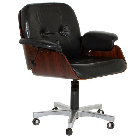 Vintage Office Chair in Rosewood and Black Leather at 1stdibs