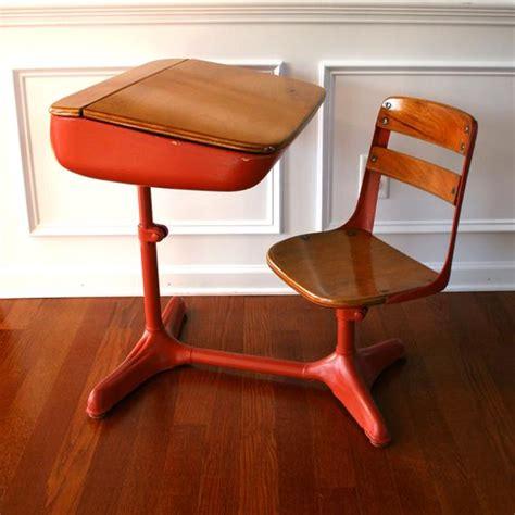 Vintage Salmon Elementary School Desk Storage and Chair. Wood.
