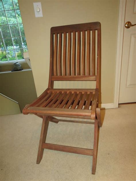 Vintage Solid Teak Wooden Folding Chair With Slat Seat ...