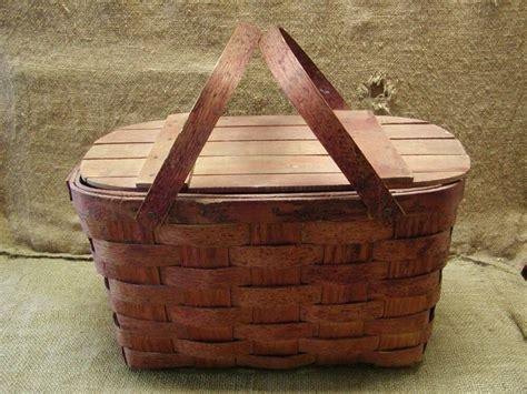 Vintage Weaved Picnic Basket > Antique Box Boxes Wooden | eBay