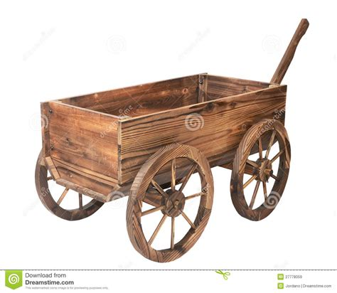 Vintage Wooden Cart Isolated On White Royalty Free Stock ...