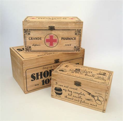 Vintage Wooden Storage Box French First Aid / Shoe Shine ...
