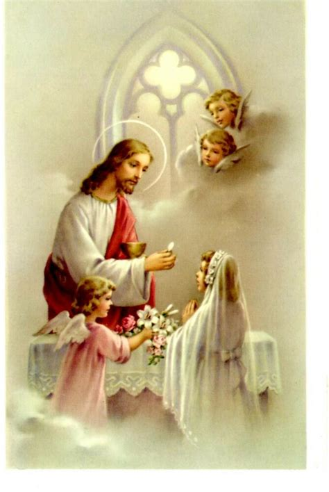 Vintage Young Girl s First Holy Communion Print Card 3.5 ...