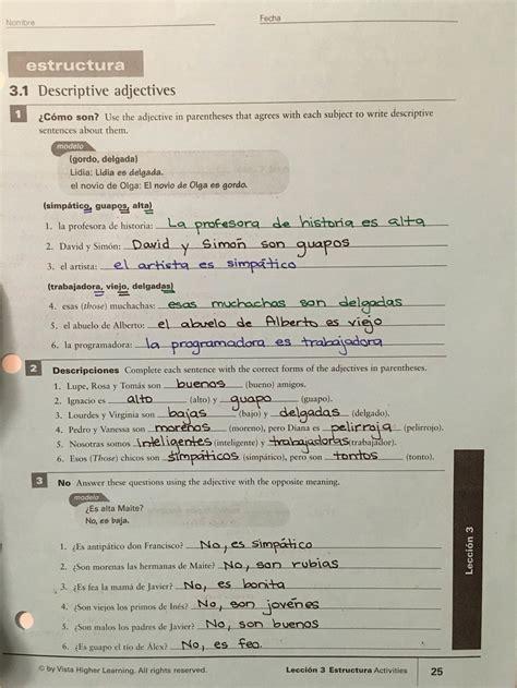 Vista higher learning spanish workbook answer key ...