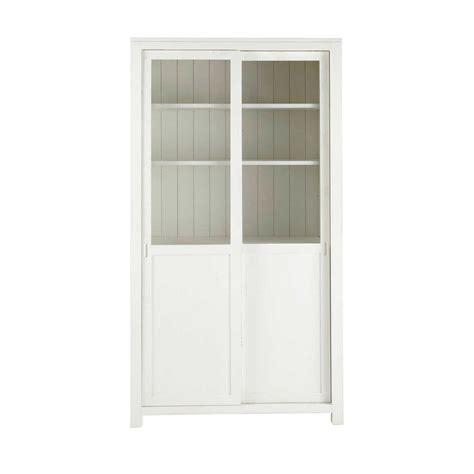Vitrina de madera maciza blanca An. 110 cm White   Maisons ...