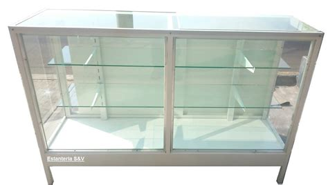 Vitrina Mostrador Metalico Exhibidora Cristal 1.50 M ...