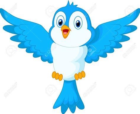 Voo de pássaro azul bonito dos desenhos animados   Aves ...