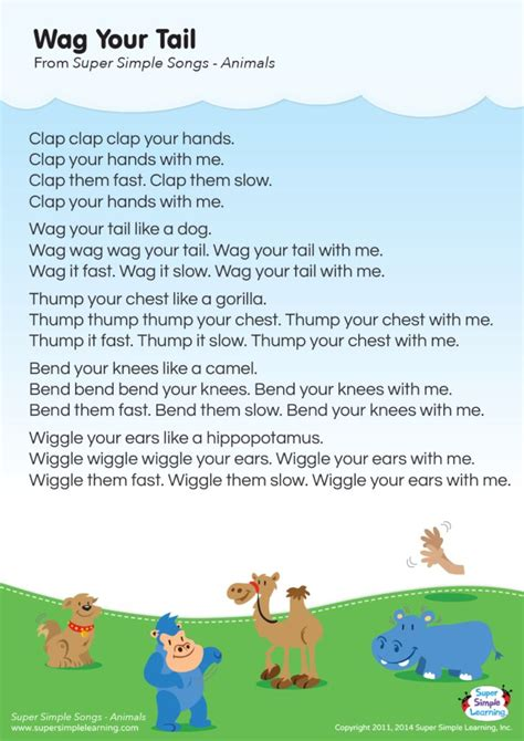 Wag Your Tail Lyrics Poster   Super Simple  With images ...