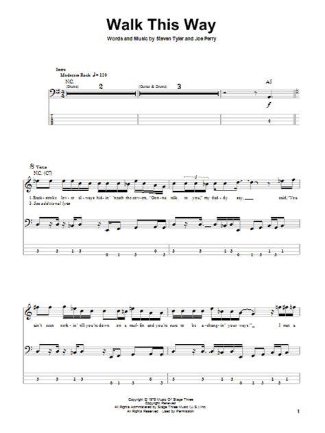 Walk This Way Bass Guitar Tab by Aerosmith  Bass Guitar ...