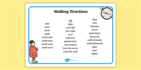 Walking Directions Direction Writing Word Mat   walking ...