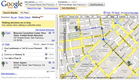 Walking Directions in Google Maps