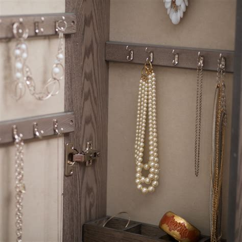 Wall Mount Mirrored Jewelry Armoire Locking Cabinet ...