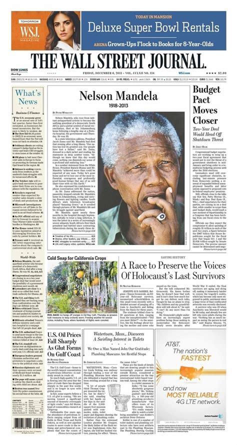 Wall Street Journal   Nelson Mandela   newspaper front ...