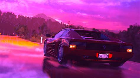 Wallpaper Ferrari Testarossa, retrowave, pink, 4K, Art #19899