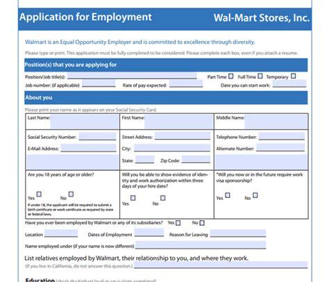 Walmart Application PDF Print Out