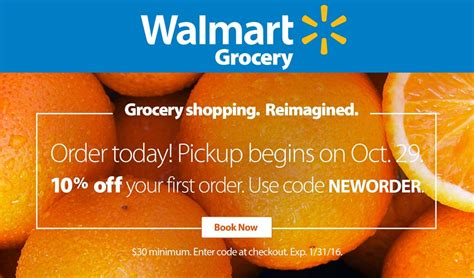 Walmart Grocery coupons   10% off store pickup of first
