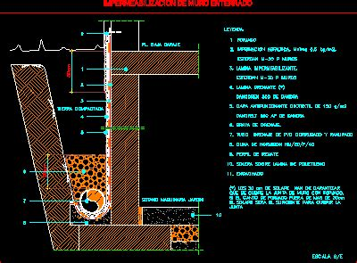 Waterproof Buried Wall DWG Detail for AutoCAD • Designs CAD