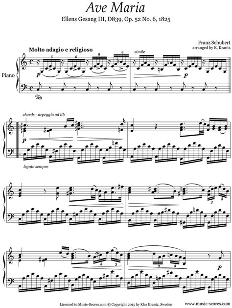Wedding sheet music for Ave Maria: Piano, C ma by Franz ...