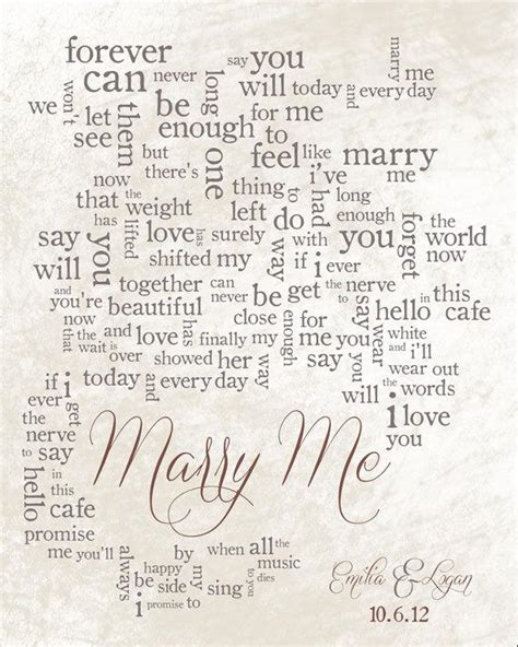 Wedding Song Lyric Art: Marry Me by Train Personalized Song