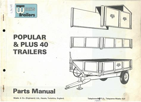 Weeks Popular & Plus 40 Trailer Parts Manual