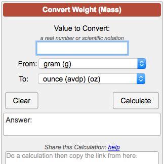 Weight  Mass  Conversion Calculator