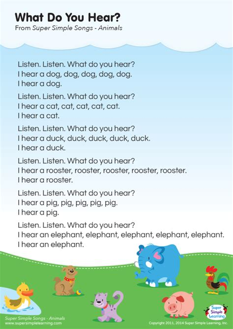What Do You Hear? Lyrics Poster   Super Simple