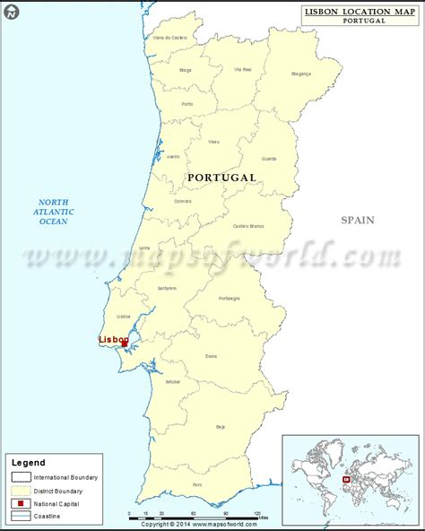 Where is Lisbon | Location of Lisbon in Portugal Map