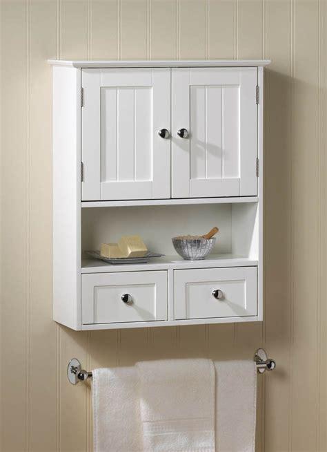 White 2 Drawer Hanging Bathroom Wall Medicine Cabinet ...