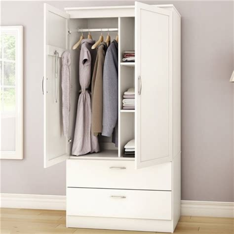 White Armoire Bedroom Clothes Storage Wardrobe Cabinet ...