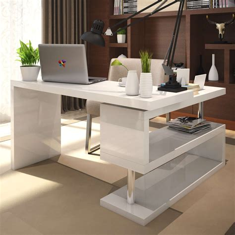 White High Gloss Office Desk   Real Wood Home Office ...