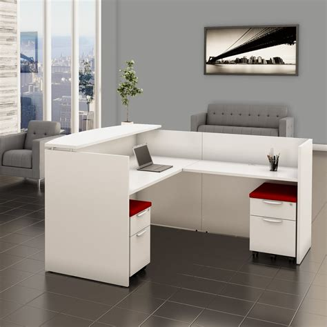 White Reception Desk with Filing System   Office Furniture EZ
