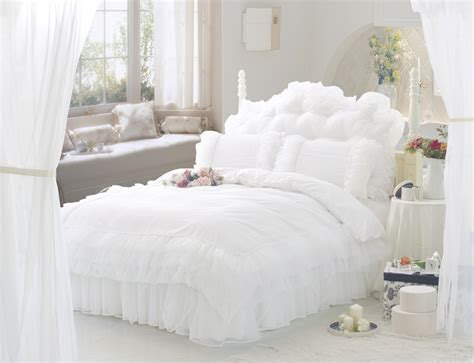 White Ruffle Lace Princess Bedding set full Queen size ...