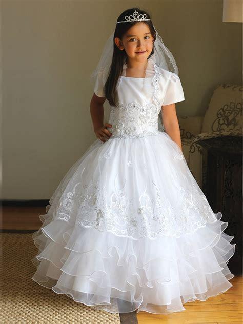 White Taffeta Organza Communion Dress w/ Matching Bolero