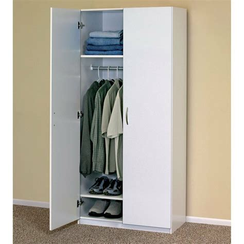 WHITE WARDROBE CABINET Clothing Closet Storage Modern ...
