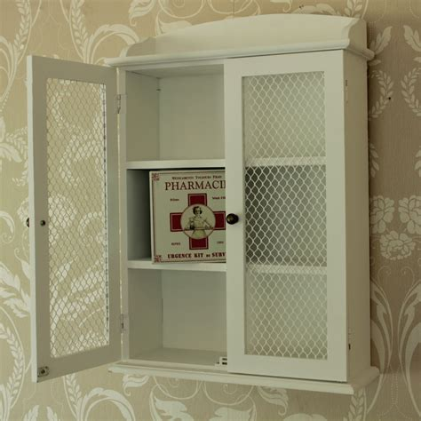 white wooden mesh wall cabinet shabby vintage style home ...