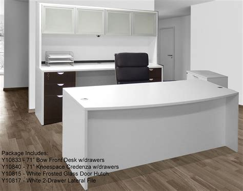 White & Woodgrain 4 Piece Office Furniture Package