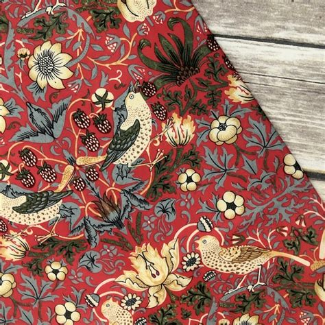 William Morris Strawberry Thief Red Tablecloth | Closs ...