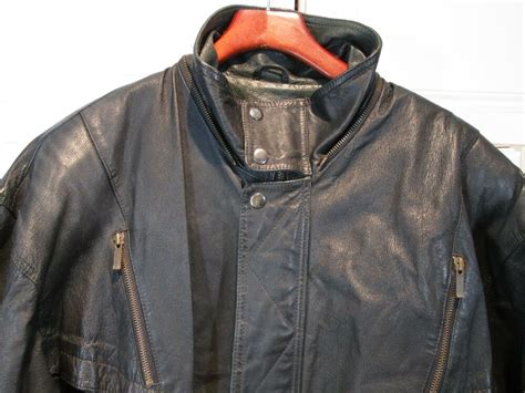 WILSON S LEATHER BLACK Mens Motorcycle Jacket XL ...