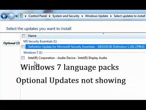 Windows 7 Language Packs Optional Updates are not showing ...