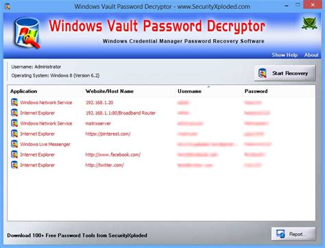 WindowsVaultPasswordDecryptor showing recovered passwords