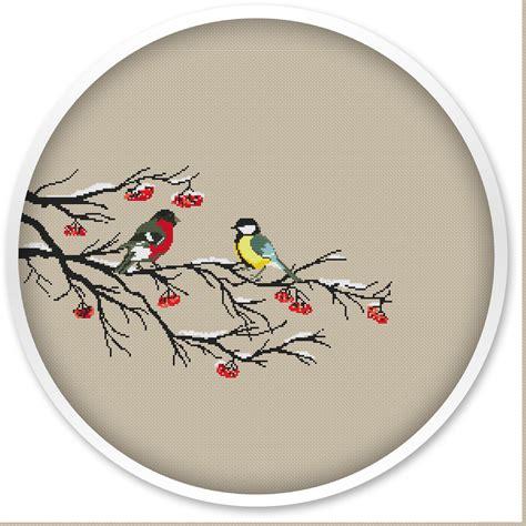 Winter Birds Cross Stitch Pattern Instant Download Free