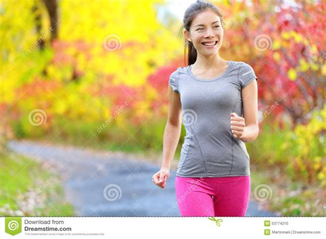 Woman Power Walking Nordic Speed Walk And Jogging Stock ...
