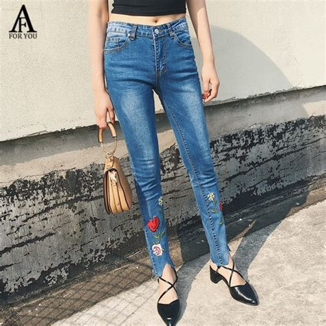 women 2017 high waist jeans with embroidery denim jeans ...