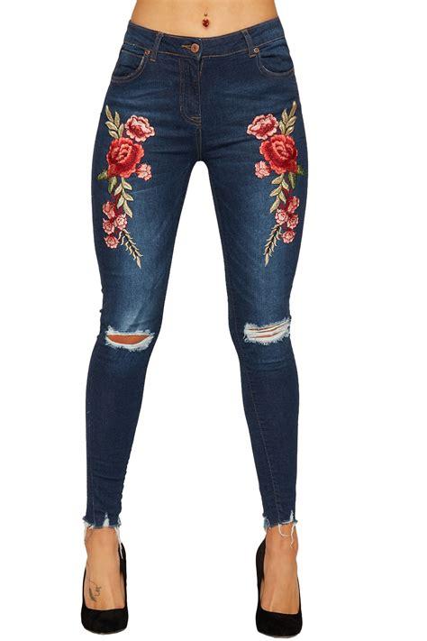 Women Distressed Denim Blue Jeans Ladies Red Rose Floral ...