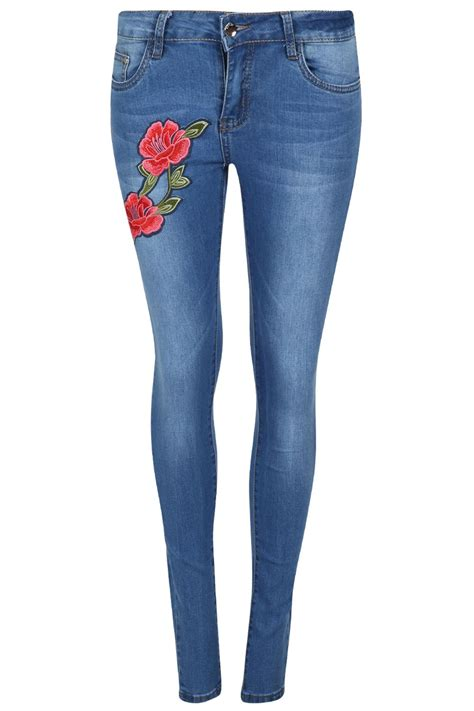 Women Ladies Flower Floral Red Rose Embroidered Skinny ...