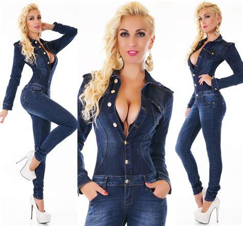 Women s Long Sleeve Denim Jeans Jumpsuit Overall   XS/S/M ...