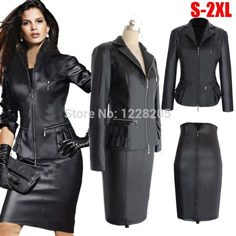 Women skirt suit Faux Leather Slim PU leather motorcycle ...