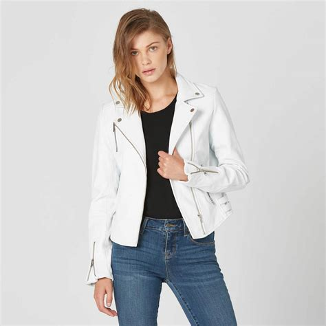 Womens Leather Moto Jacket In White $350 | DSTLD