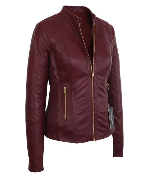 Womens Moto Burgundy Lambskin Real Leather Jacket ...