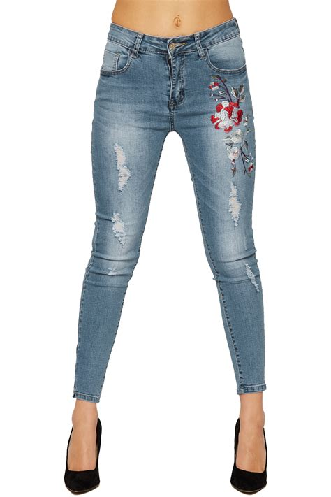 Womens Red Rose Skinny Denim Jeans Ladies Floral Print ...